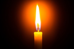 Candle light on black background ,Candle, Flame, Black Background, Candlelight, Single Object,Single lit candle with quite flame ,Candle, Flame, Fire - Natural Phenomenon, Copy Space, Candlelight