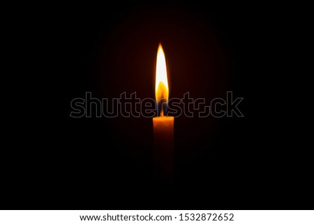 Candle light on black background ,Candle, Flame, Black Background, Candlelight, Single Object,Single lit candle with quite flame ,Candle, Flame, Fire - Natural Phenomenon, Copy Space, Candlelight #1532872652