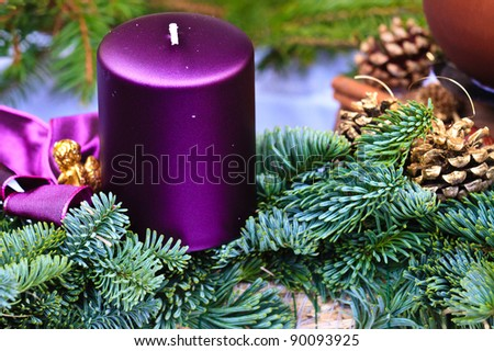 Candle of Christmas Advent Wreath (detail view)