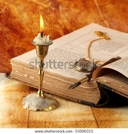 Candle with book