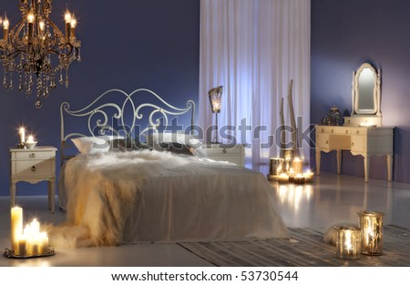 candlelight bedroom - stock photo