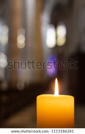 Historical candlestick with a burning wax candles Images and Stock