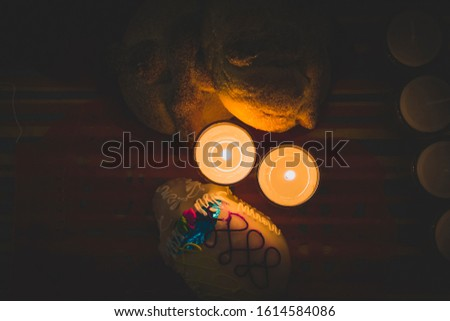 Candles and traditional food of Dia de muertos (Day of the dead) in Mexico Stock fotó ©
