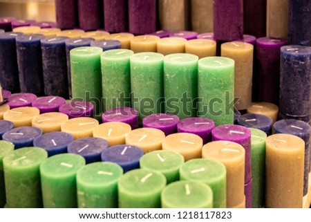Candles background. Multicolored candles. Aroma candles. #1218117823