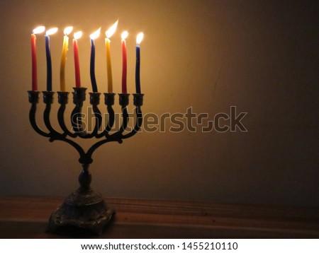 Candles illuminate in the Hanukkah