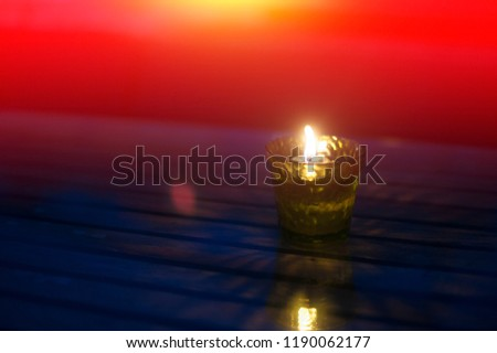 Candles in glass, candlelight dinner, festive atmosphere, romantic atmosphere #1190062177