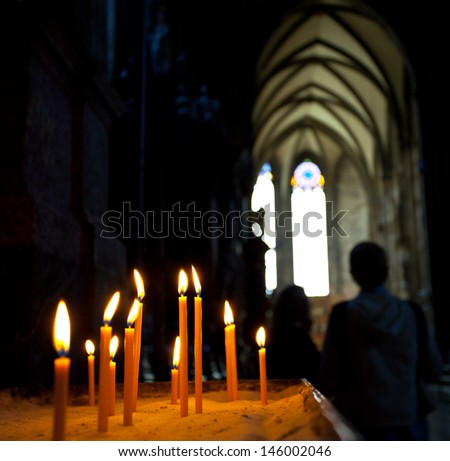candles in the Catholic Church, shallow depth of field