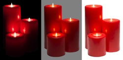 Candles Light, Group of Red Candles Lights, over White Black Gray Background, Clipping Path Set