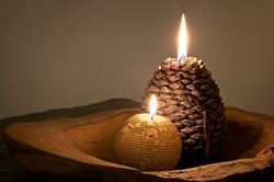 Candles lit in a cozy atmosphere. Celebration scene