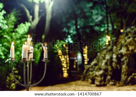 Candles lit to illuminate a garden during a dinner at night.