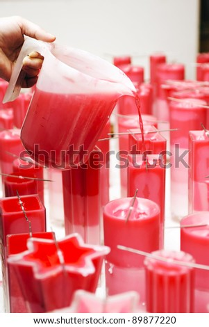 Candles produce by hand in a small company