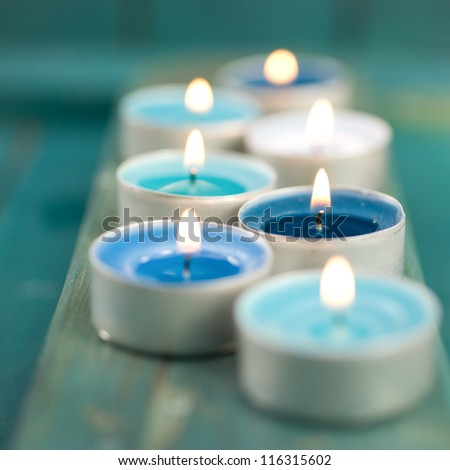 Candles, wellness symbols