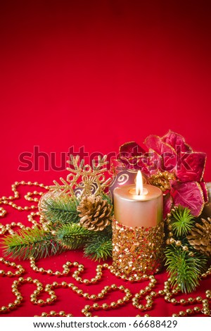 Candles with Christmas decorations