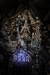 Candlestick, Chandelier skull close up on black Halloween background, death and mystery concept. Selective focus