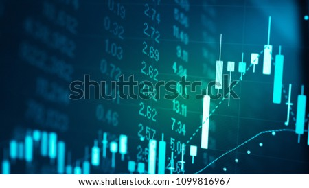Candlestick chart in financial stock market on digital number background. Forex trading graphic design and Stock market trading trend as concept.