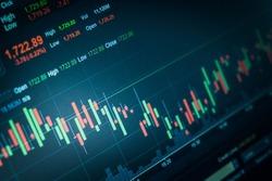 Candlestick chart on laptop screen. Stock market Concept