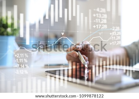 Candlestick chart. Stock market and forex trading graph. Return on investment (ROI). Financial trends background for business.