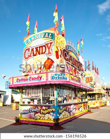 candy and popcorn stand on a carnival midway