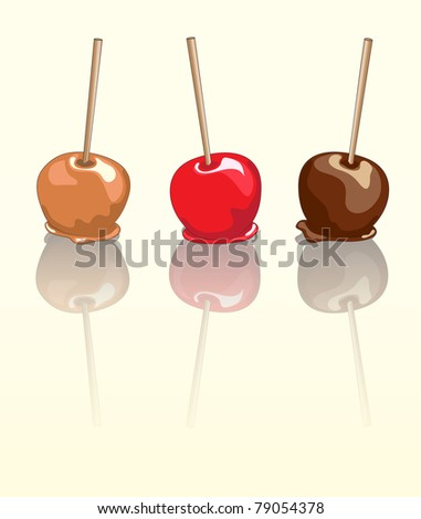 Candy apples. Chocolate, caramel and toffee candy apples with reflection. EPS10 vector format