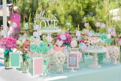 Candy Bar. Delicious sweet buffet with cupcakes. Sweet holiday buffet with cupcakes and other desserts.
