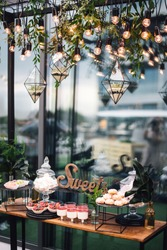 Candy bar with cakes and sweets decorated by florariums with stones and flowers hang on chains near Edison bulbs and greenery. Decor. Party
