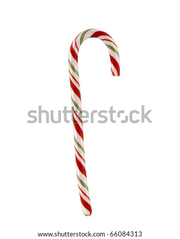 candy cane closeup on a white background