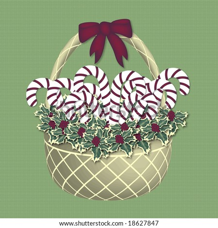 candy cane gift basket on green pattern