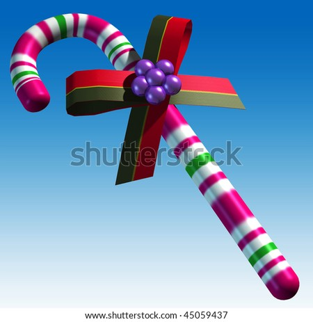 candy cane with ribbon on the blue background