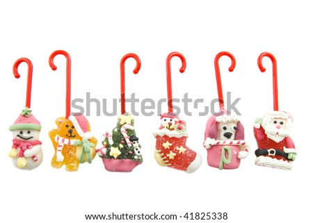 Candy canes in different styles isolated over white