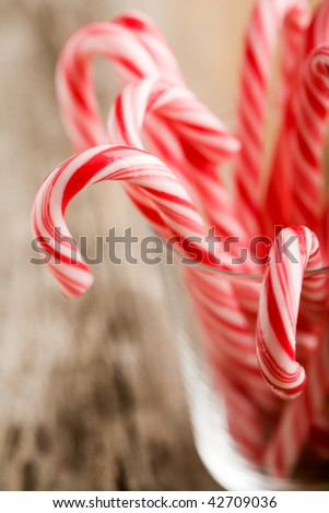 Candy canes with red and white stripes