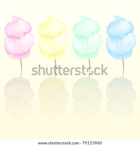 Candy floss in four different colours reflected. Also available in vector format.