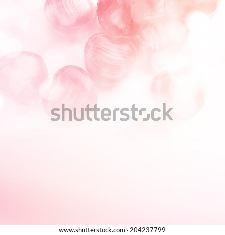 Candy hearts with bubbles in Sweet Color style for background