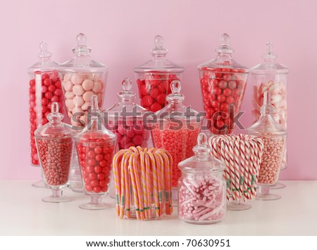 Candy In Bowls On Pink Background
