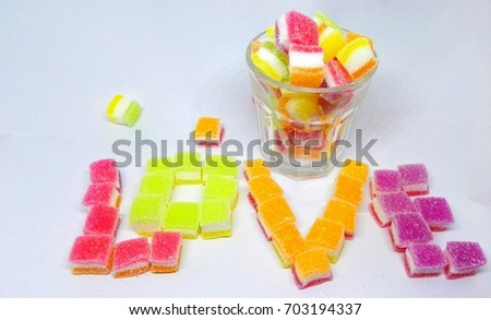 Candy multicolored in glass #703194337