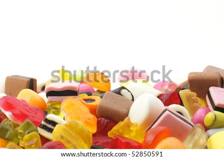 candy sweets showing unhealthy food concept with blank and empty space ...