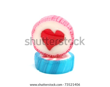candy with hearth on a white background