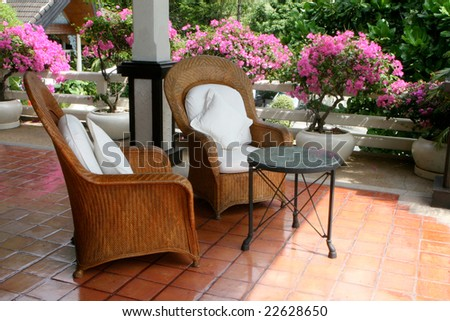 Cane and wooden furniture - home interiors.