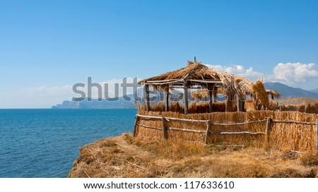 cane shelter on seaside in Crimea