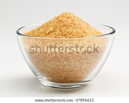 Cane sugar in a glass bowl