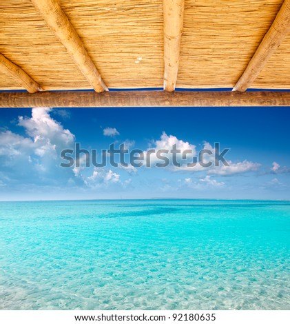 Cane sunroof with tropical perfect beach of turquoise water view [ photo-illustration ]