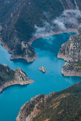 Canelles reservoir at Montrebei gorge or Congost de Mont-rebei, Montsec Mountain Range of The Pre-Pyrenees, Pyrenees Mountains in Lleida province of Catalonia Autonomous Community of Spain in Europe