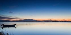 Canet en Roussillon's lagoon at sunset, with the Canigou mountain in the background