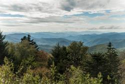 Caney Fork Overlook on the Blue Ridge Parkway, North Carolina, United States.