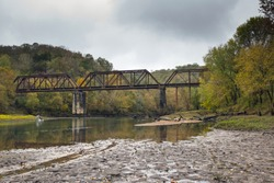Caney Fork River train bridge with fall colors