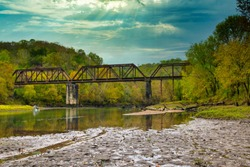 Caney Fork River train trestle on early fall morning