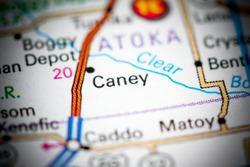 Caney. Oklahoma. USA on a map