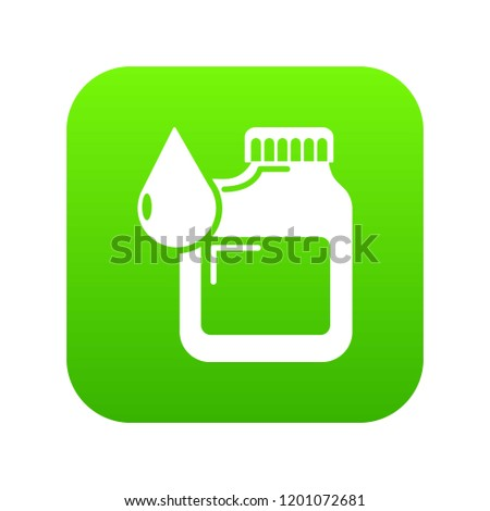 Canister engine oil icon green isolated on white background