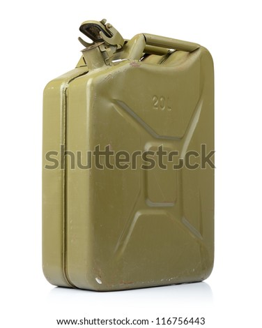 Canister of gasoline on white background. File contains a path to isolation.