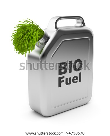 Canister with BIO fuel 3D.  Alternative energy. Isolated on white background