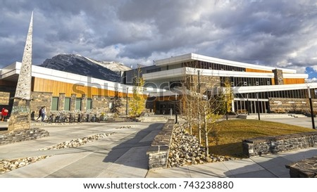CANMORE, ALBERTA, CANADA - OCTOBER 25, 2017: Elevation Place Recreation Center opened in April 2013. This modern facility offers gym, climbing wall, lap pool as well as cafe and library.